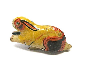 Vintage Tin Jumping Bunny Toy, J. Chein & Co., Toys, Wind Up, c1930s, Easter Decoration, Rabbit, Mechanical