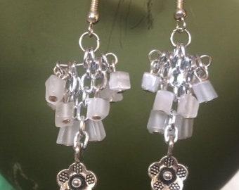 Light Gray and Silver Flower Dandle Earrings; Flower Drop Earrings; Flower Chandelier Earrings; Statement Earrings; Silver Flower Earrings