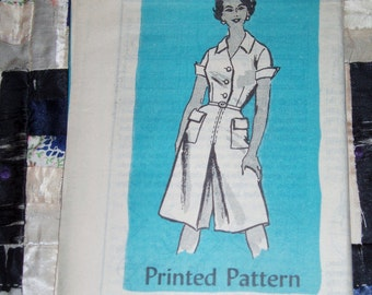 Vintage 1960s Mail Order Designer Pattern 4500 for Misses Dress Sizes 14 1/2, Factory Folds