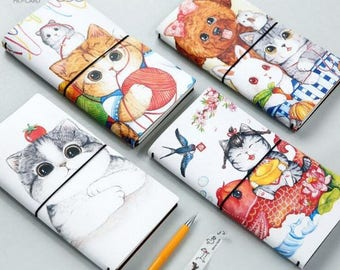 Kawaii Illustrations Planner PU Leather Cover ~ Cute Planner Diary Book Notebook Notepad, Cat Lover, Puppy Stationery, Journal, Gift Ideas