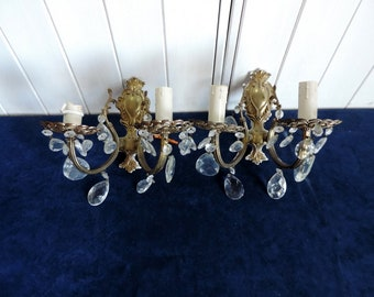 Vintage French, pair of Baroque style, 2 lamp, bronze and venetian crystal sconces, wall lights