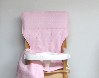 eddie bauer padded cotton high chair cushion, kids feeding chair pad, replacement cover, gold and white dots on soft pinkwith matching bib
