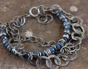 sapphire silver bracelet, multi strand chain silver bracelet, silver handmade handcrafted chain