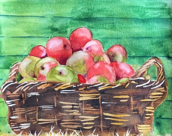 Basket of Apples Watercolor Painting, Kitchen Home Decor, Original Modern Fine Art, Framed Matted Office Wall Artwork, Mother's Day Gift