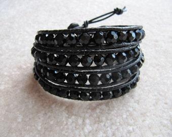 Black Crystal Beaded Leather Wrap Bracelet
