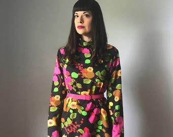 Vintage 60s Mod Neon Floral Mini Dress