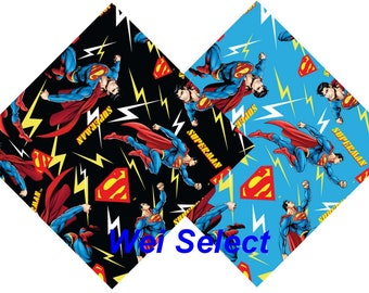 DC Comics Super Friends - Superman  Superhero Quilt Cotton Fabric By The Yard - Half Yard