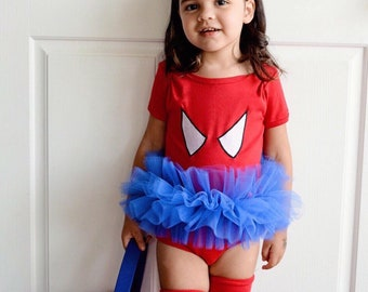 Spider Girl Tutu Bodysuit Superhero Toddler Baby