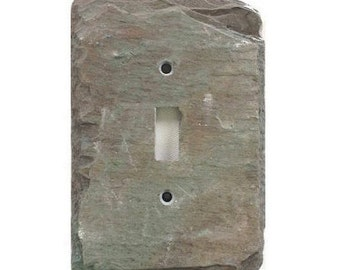 Decorative light switch cover.Mottled Purple Green slate. Reclaimed,repurposed & up cycled by vemontslateplates.com