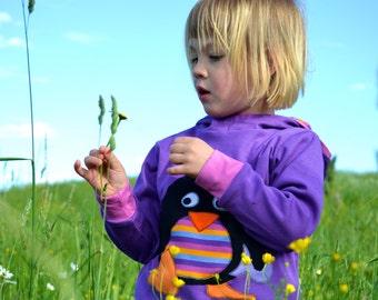 Girl penguin hoodie,kids gift, girl gift,toddler gift,birthday gift,gift for kids, girl toddler,reversible,violet/stripes-made to order