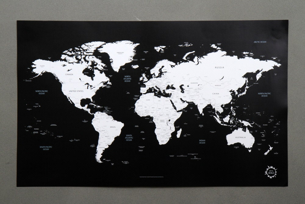 bg black and white world map unique design poster. Black Bedroom Furniture Sets. Home Design Ideas