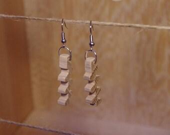 Earrings shaped zigzag geometric wooden oak
