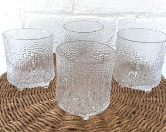 Set of 4 Iittala Ultima Thule footed tumblers 200ml capacity Made in Finland Tapio Wirkkala 1968 design Vintage glassware