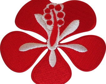 Embroidered Iron On Red Flower Patch Sew On Badge Crafts Embroidery Applique