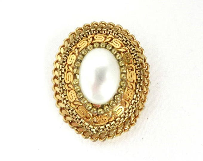 Vintage Scarf Clip, Scrolled Clip, Faux Pearl Scarf Clip, Braided Oval Clip, Women's Accessories, Scarf Accessory, Gift Idea