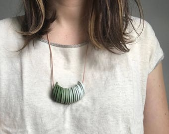 Green Ombre Disc Necklace