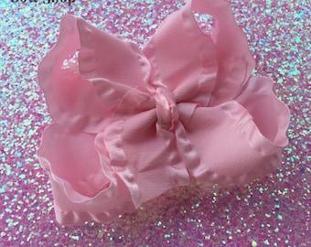 Pink Ruffle Bow -- pink hair bow, optional headband -- double ruffle ribbon -- Darling Little Bow Shop