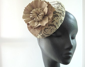 Chantilly Lace Cocktail Hat  Tea Stained Suede Flower Wedding Formal