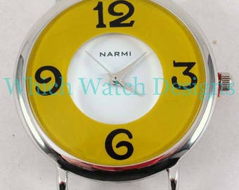 CLEARANCE Whimsical Round.. Large Colored Interchangeable Watch Face, Ribbon, Solid Bar, READ DESCRIPTION