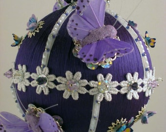 Butterfly Dreams - Purple - A Finished Hand Made Beaded Satin Ornament With Crystals