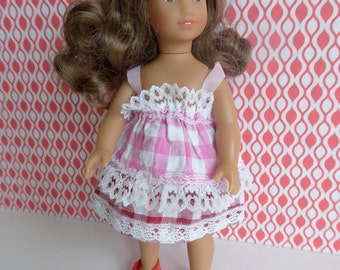 """GINGHAM CHECK Vintage Doll Dress - for Mini American Girl and most other 7""""-8"""" dolls"""