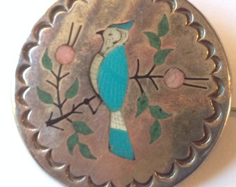 Sale Vintage Raymond Boyd Silver Multi Stone Inlay Blue Jay Bird Brooch Pendant Navajo