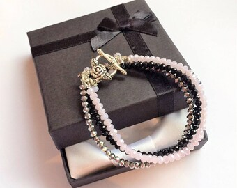 Black, Silver and Pink Bracelet/ Pretty Pink Black and Silver Bracelet/  Beaded Bracelet with Rose T Bar Clasp