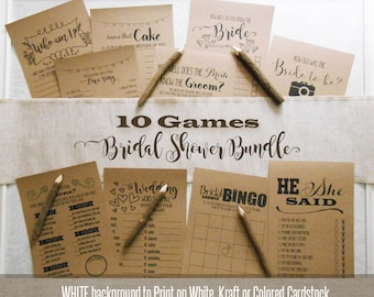 Bridal Shower Bundle, 10 Bridal Shower games, printable rustic games, fun and unique games, G101