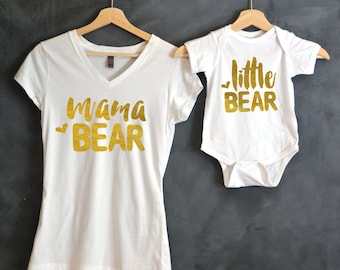 Mama Bear + Little Bear Package, Mama Bear V-Neck T-shirt, Baby Bear Bodysuit, Baby shower gift, Mothers day gift, Mommy and Me shirts