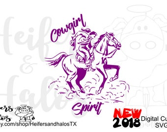 Cowgirl Spirit punchy Cow girl digital cut file for cricut and silhouette, ranchy, rodeo, ranch, svg, pdf, png, eps, dxf, studio3 CUT FILE