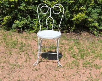 Vintage White Ice Cream Parlor Chair Twisted Metal Bistro Chair Owl Spectacle Back Chippy Paint Cottage Decor PanchosPorch