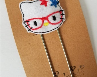 4th of July Kitty Feltie Jumbo Bookmark - XL - Planner Clip - Planner Accessory - Small Gift