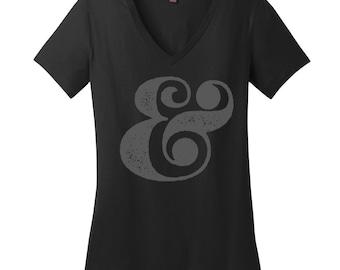 Ampersand V Neck Tee Nerdy Shirt Womens Shirt Cool Punctuation T Shirt Editor Shirt Women English Teacher Shirt Teacher Gifts Grammar Shirt