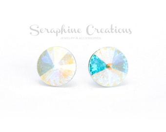 Crystal AB Earrings Swarovski Rivoli Crystal Aurora Borealis Earrings Sparkly Bridal Bridesmaid Gift Bridal Party Bridesmaid Jewelry K010