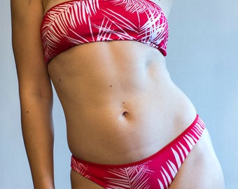 Tropical Red Bandeau Top Stripes Double Face Regular Bottoms Bikini Set