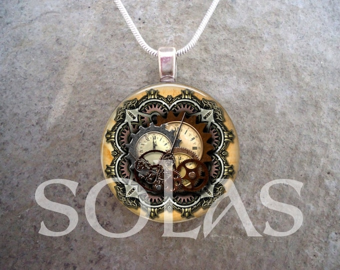 Steampunk Necklace - Glass Pendant Jewelry - Steampunk 1-15