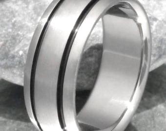Black Titanium Wedding Band, Black Ring, Titanium Ring, Mans Ring, Womans Ring, Handcrafted Titanium - bk10