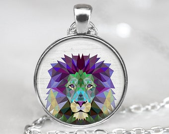Lion Pendant, Geometric Lion Necklace, Lion Art Jewelry, Polygon Lion Pendant, Lion Art Pendant, Lion Jewelry, Bronze, Silver, 040