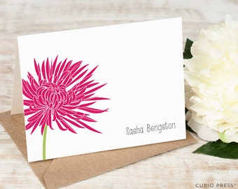 Personalized Card Set / Folded Personalized Stationery / Stationary Cards / Notecard Set / Note Card / Thank you Card //CHRYSANTHEMUM FLOWER