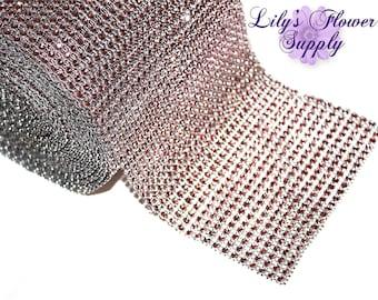 """Rhinestone Mesh - Diamond Mesh Rhinestone - Bling Mesh - Pink Diamond Mesh - Crystal Wrap - Diamond Wrap - 4.75"""" - 1 Yard"""