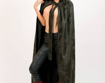Dark Green Long Hooded Cape
