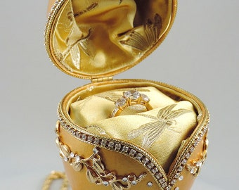 Gold Engagement Ring Box, Gold Hearts of Love Presentation Box, Wedding Ring Box, Wedding Gift, Faberge Decorated Egg