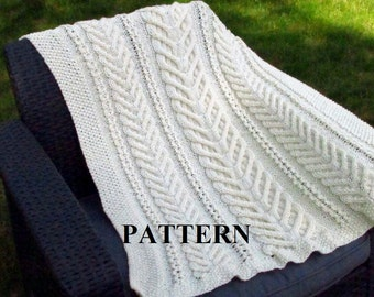 Knit Baby Blanket Pattern, Baby Blanket Pattern, Knitting Pattern Blanket, Knitting Pattern, Stag  Horn, Aran Cable Knit, Irish Baby Blanket