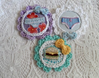 Quirky Embroidered Fabric Button/Brooch