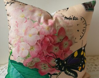 "Decorative Hydrangea cushion cover/pink bloom pillow case/pillow cover/decorative throw pillows  18x18""/12x20""/21x21""-home decor"