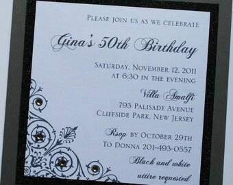 Black and White Elegance Birthday Invitation