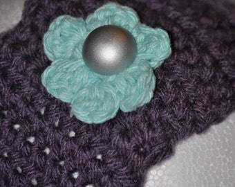 Purple Ear Warmer with Teal Flower