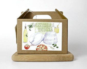 Mozzarella and Ricotta DIY cheese kit - multiple batches, organic, handmade, gift box, italian food, cheese making, do it yourself food kit
