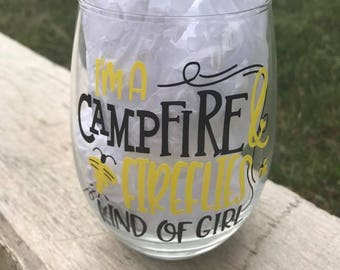 Campfire, Firefly, Camping Glass, Campfire Glass, Firefly Glass, Camper Wine Glass, Lightening Bug, firefly wine glass, camping