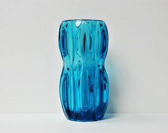 Vintage Czech Rosice Sklo Union blue glass vase - jan Schmid